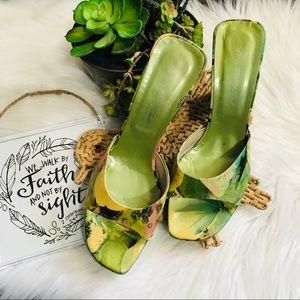 Via Spiga Green Slide On Sandal Heels Sz 8